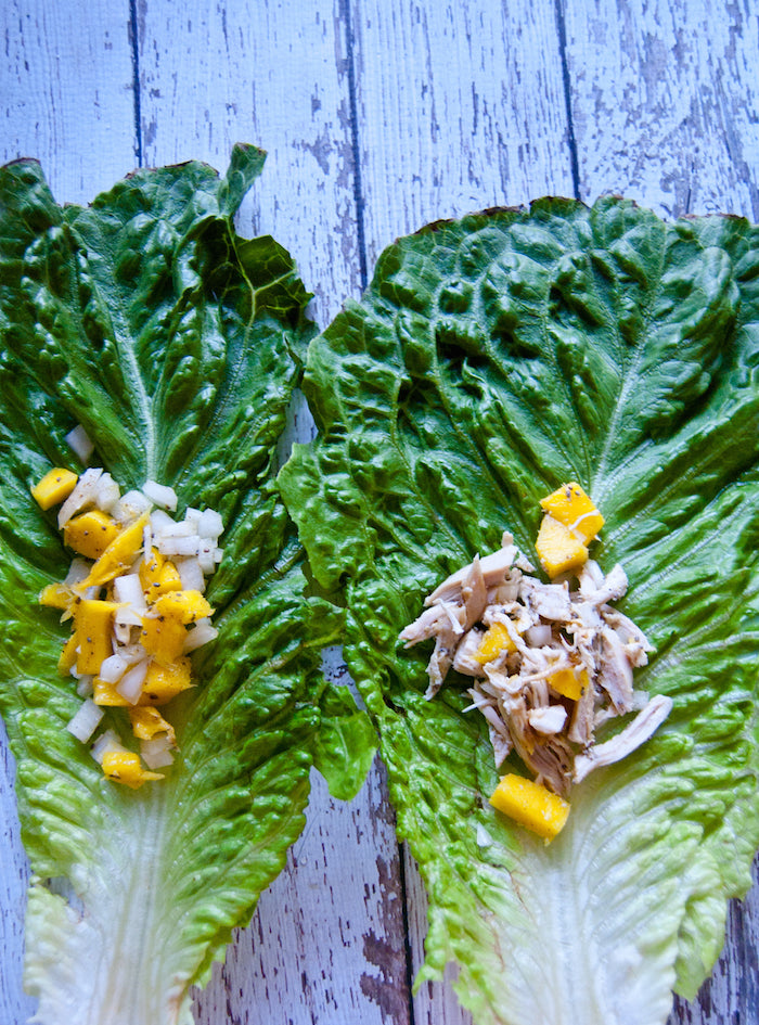 mango, romaine, romaine wraps, chia seeds, chia, raw food, clean eating, rotisserie chicken, beach babe, wraps, lettuce wraps, healthy dinner, healthy snack