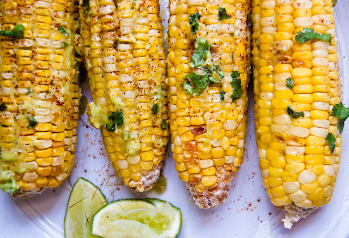 mexican street corn, avocado butter, healthy eats, mexican corn, corn on the cob