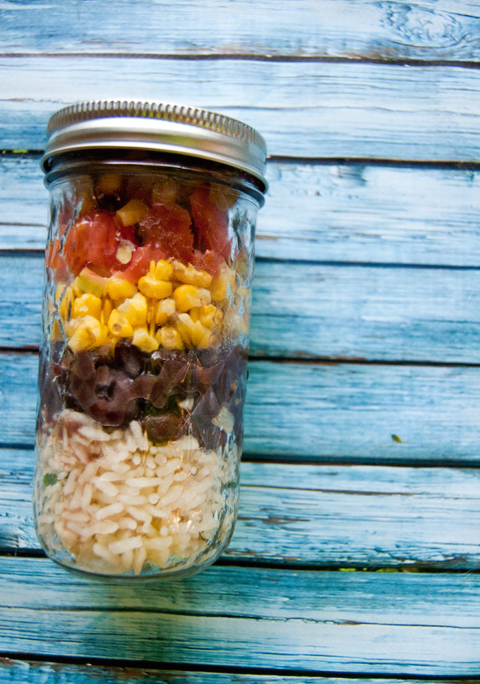 burrito, burrito bowl, lunch solutions, quick lunches, teacher lunches, professional lunches, clean eating, lime cilantro rice, rice, mason jars