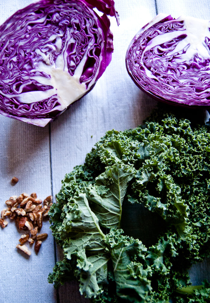 kale snack mix, kale, healthy snacks, healthy sides, cranberries, pecans, red cabbage, healthy snack mix