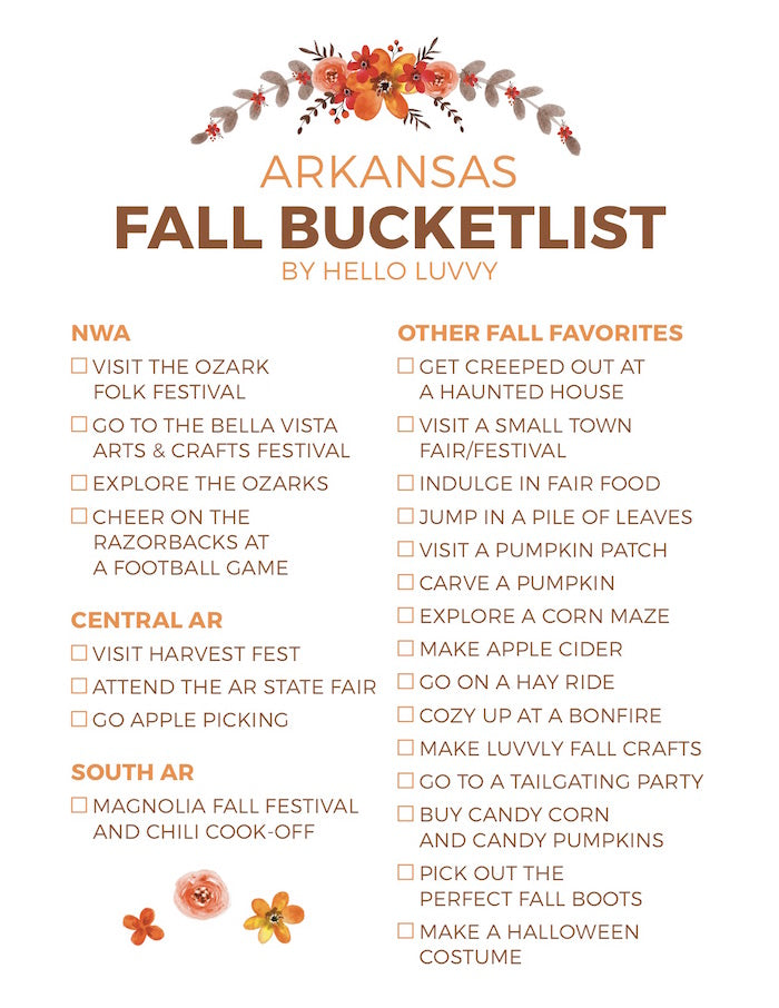 FALL BUCKET list hello luvvy