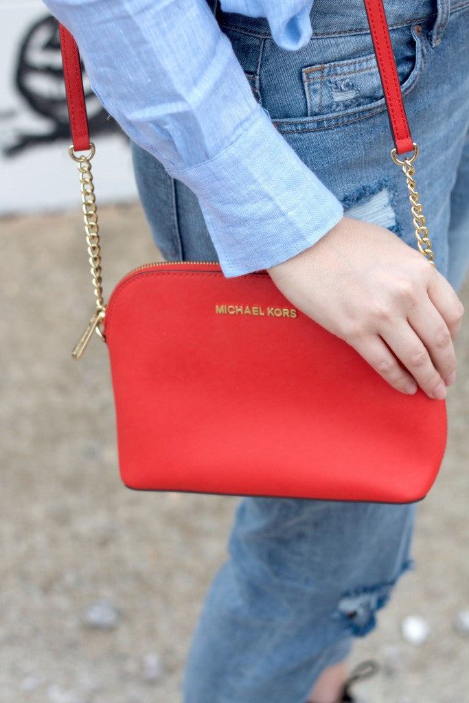 michaell kors red crossbody