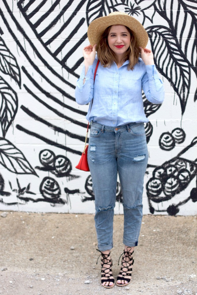 h&m, spring outfit, basics, girlfriend jeans, linen shirt,