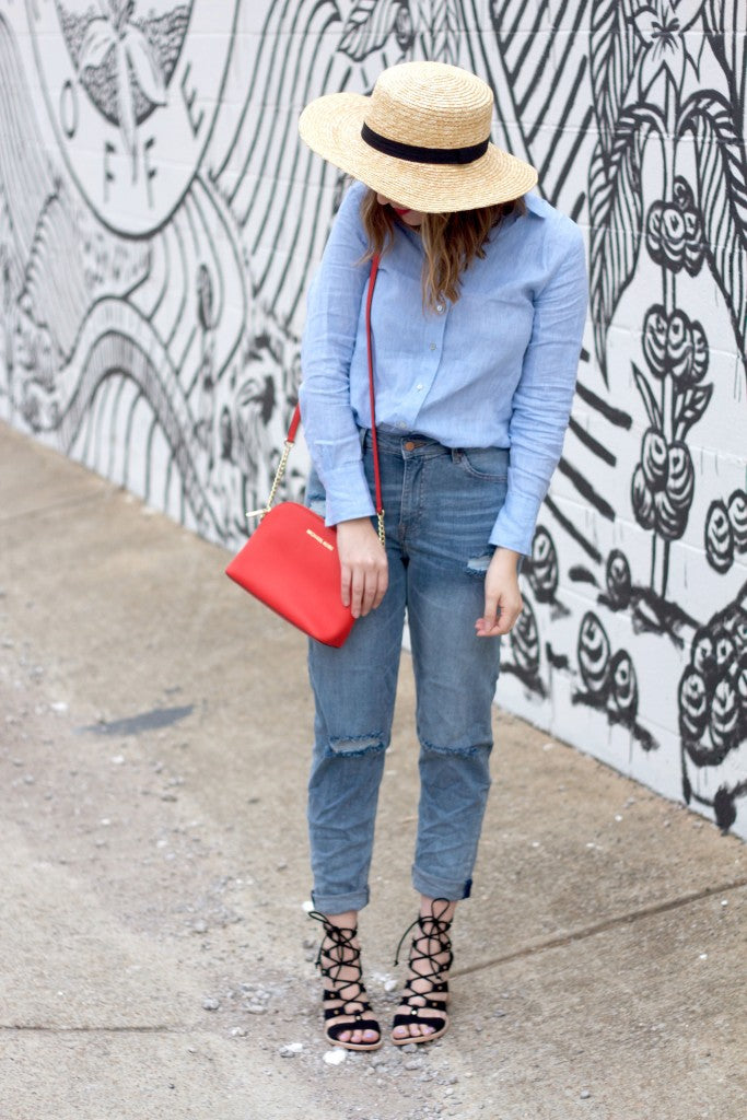 top shop hat, hm basics, dolce vita sandals,