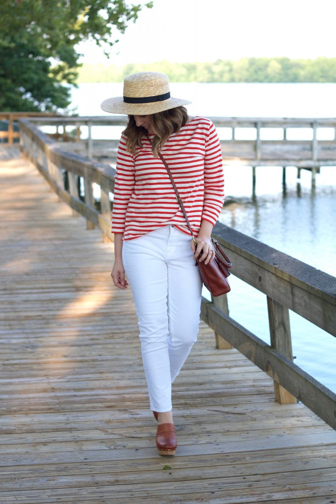 gap denim, jcrew top