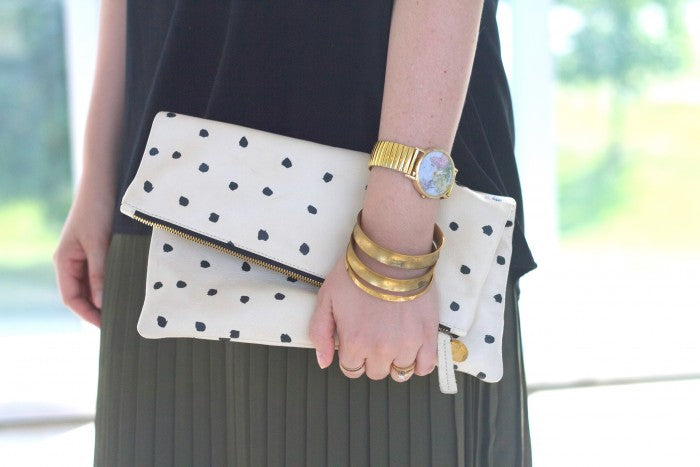 clare vivier black and white dot clutch