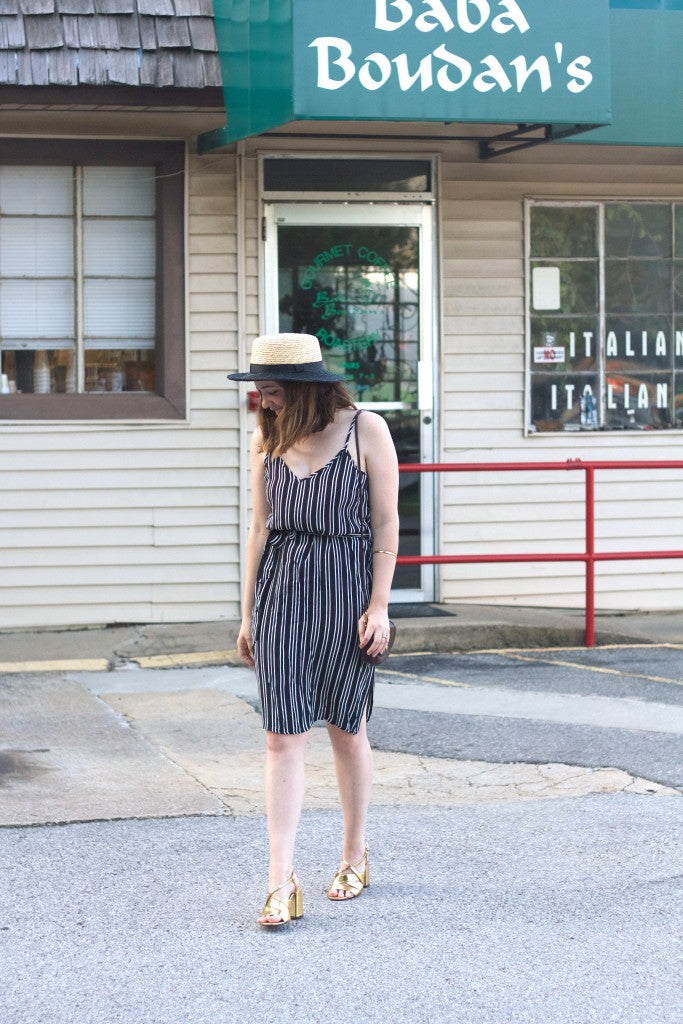 striped midi dress by Who What Wear for Target-Hello Luvvy