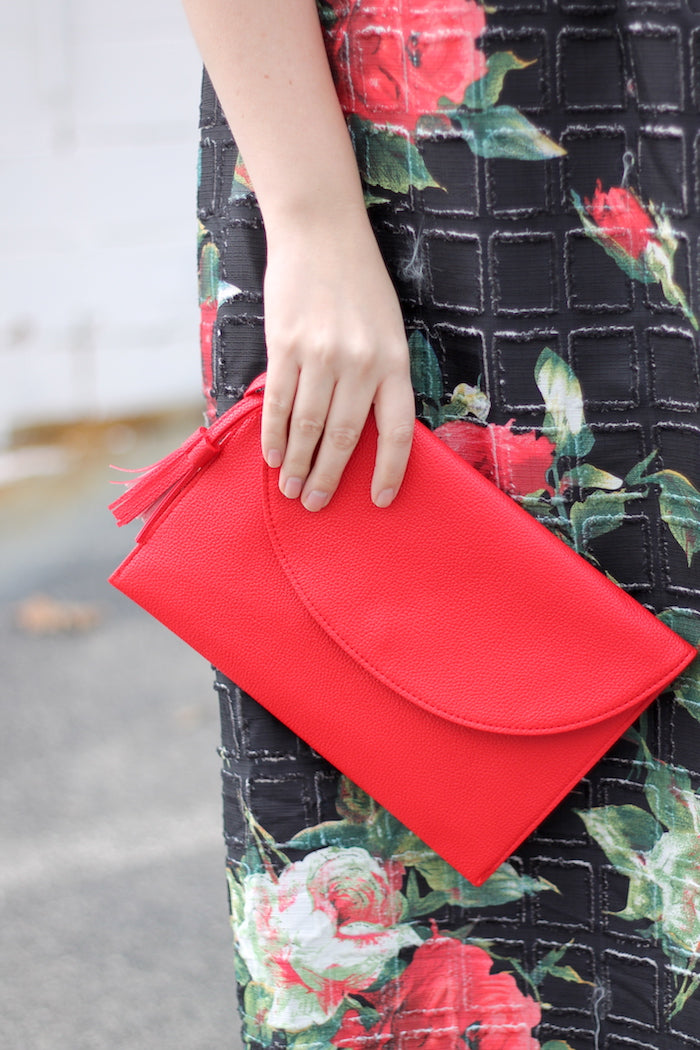 valentine's day dress with red clutch