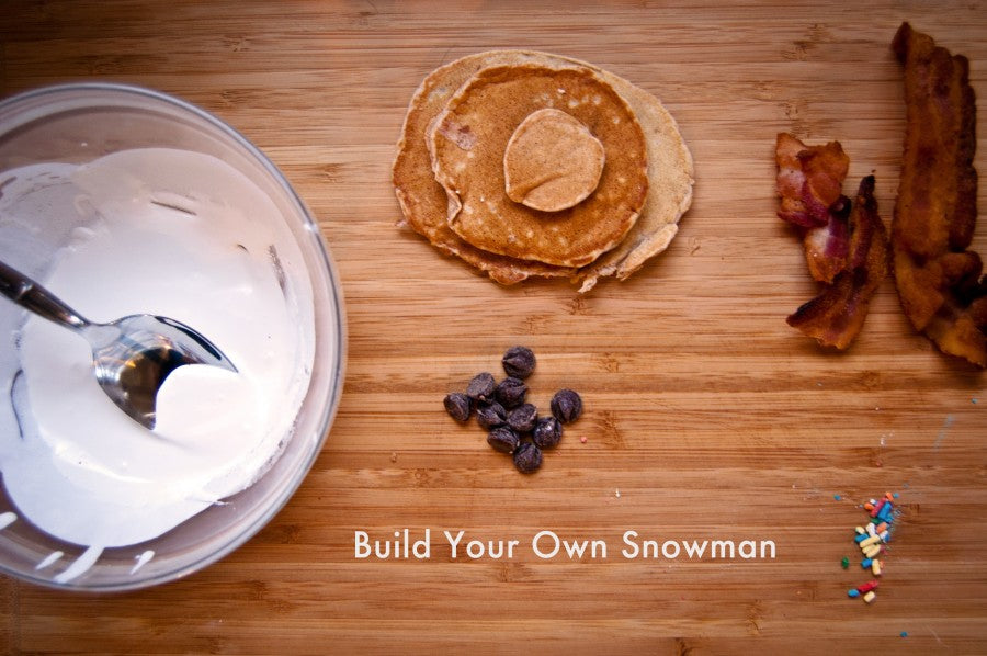SnowmanToppings, cream cheese frosting, bacon, cinnamon pancakes