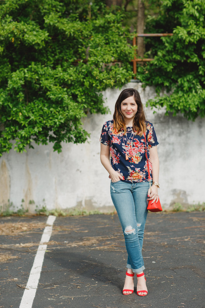 jeans with floral top