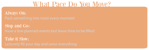 What pace will your travel take?