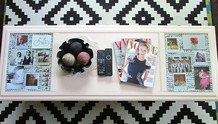 diy photograph display coffee table