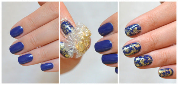fall manis_blue and gold