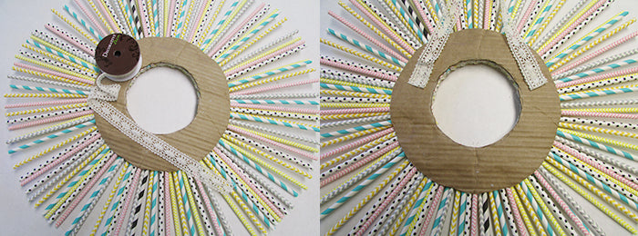 hanging paper straw wreath
