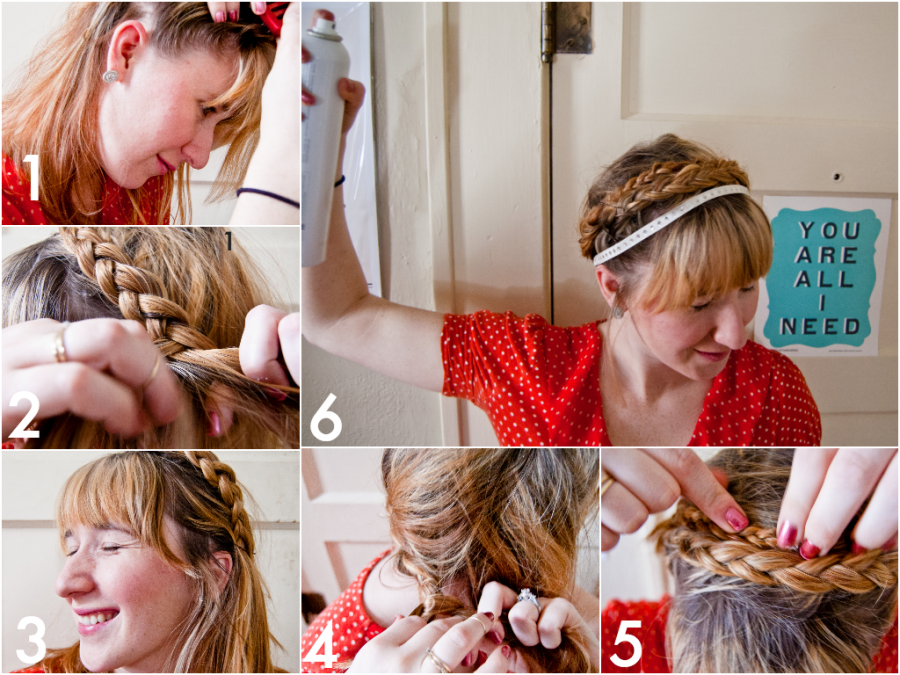 braid, braided updo, valentines day hair, french braid, modified french braid, wrap around braid