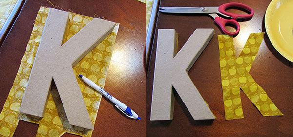 fabric letter diy step 1