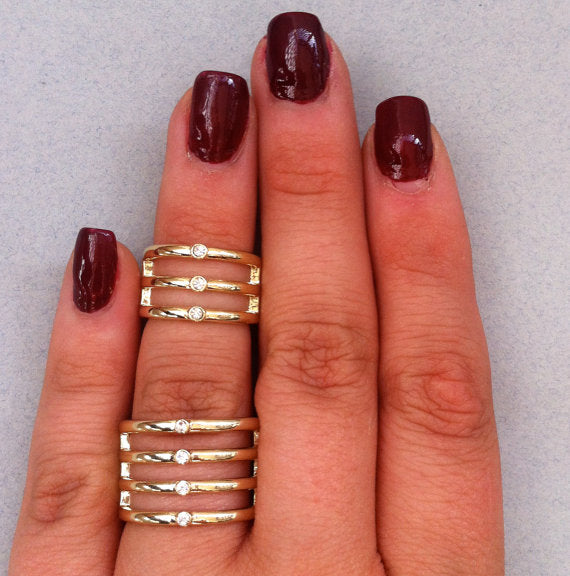 gold mid-finger stackable rings with crystals