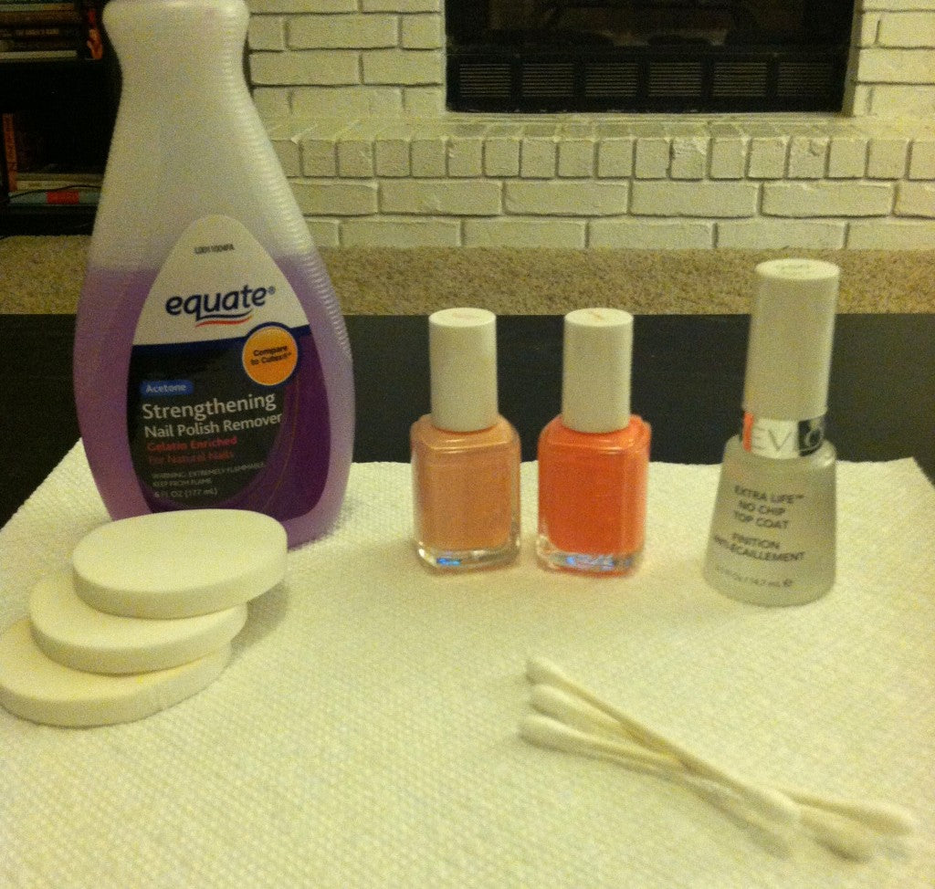 you'll need two polishes and a top coat. the polish remover, cotton balls and Q-tips are my clean-up crew.