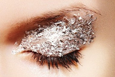 as much as i love gold glitter, i think this silver look is equally fab. to copy, try this.