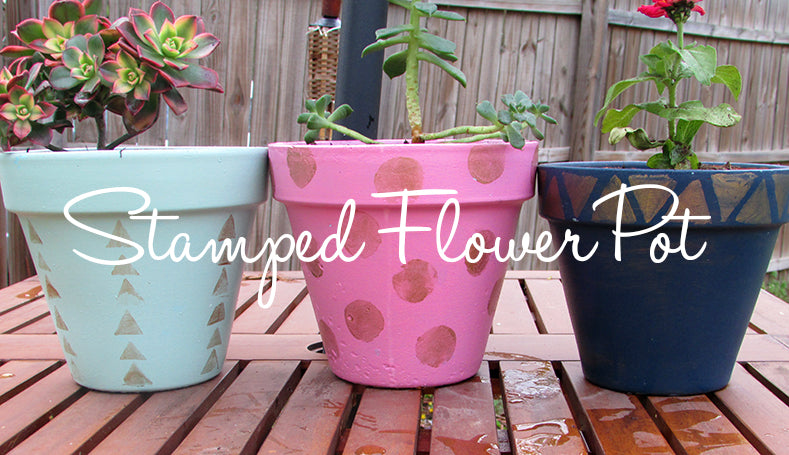 stamped flower pot diy