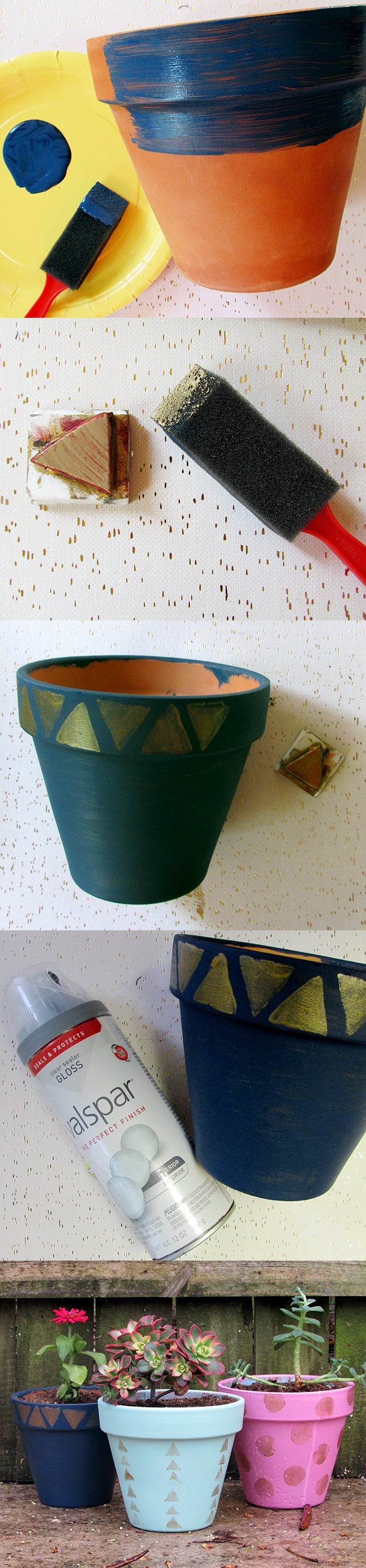diy stamped flower pot
