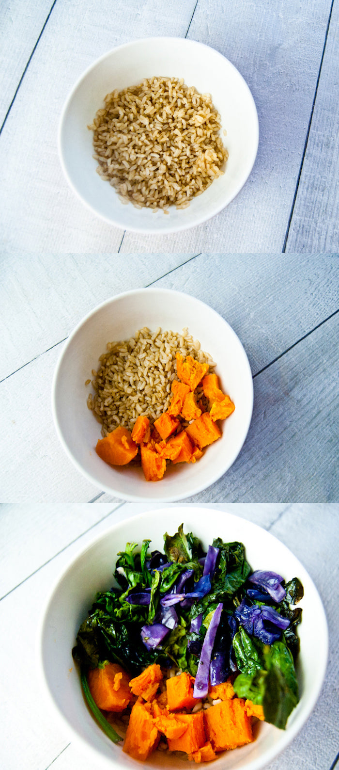 protein bowls, protein bowl lunches, not sad desk lunches, quick lunches, healthy lunches, sweet potatoes, red cabbage, brown rice, macrobowl, buddha bowl, nutrient bowls