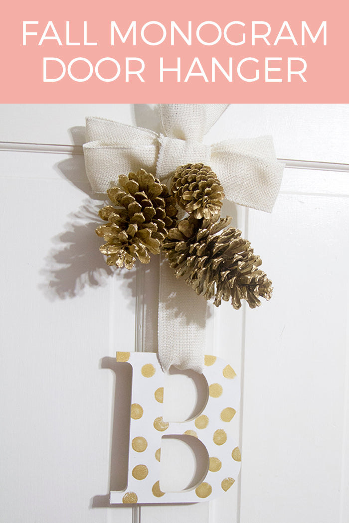 white and gold fall monogram door hanger hello luvvy
