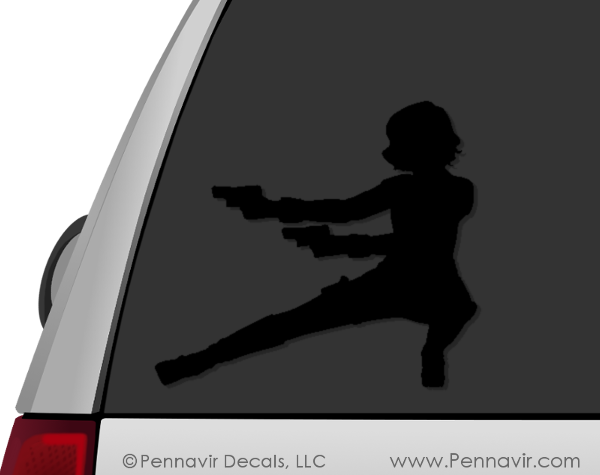 Black Widow Figure Crouching Decal