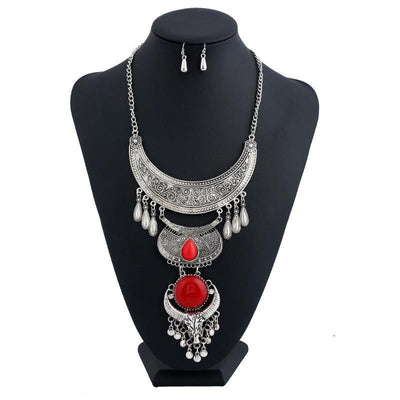 Ethnic Tau Droplet Necklace & Earrings