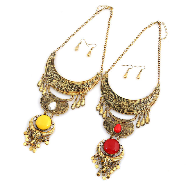Ethnic Tau Droplet Necklace & Earrings - Shire Fire