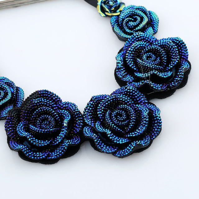 Crystal Blue Rose Necklace - Shire Fire
