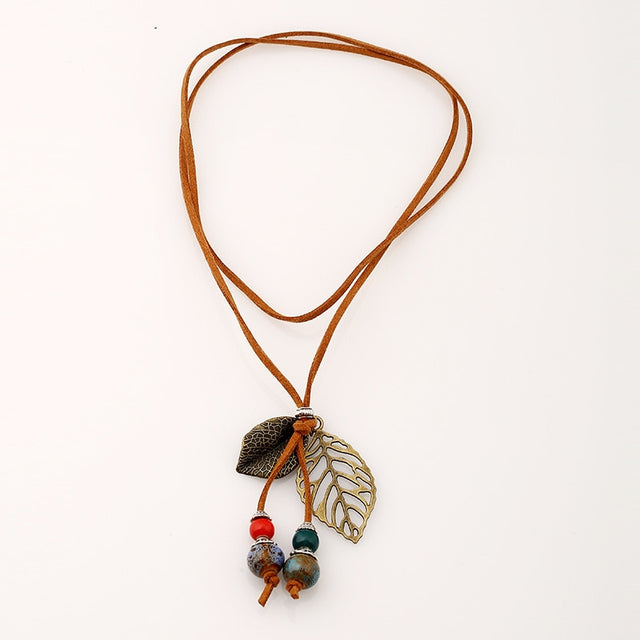 Handmade Leaf Long Rope Necklace - Shire Fire