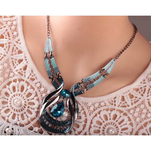 Blue Water Crystal Necklace & Earrings - Shire Fire
