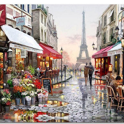Romantic Paris Street Eiffel Tower - Paint By Numbers Kit - Shire Fire