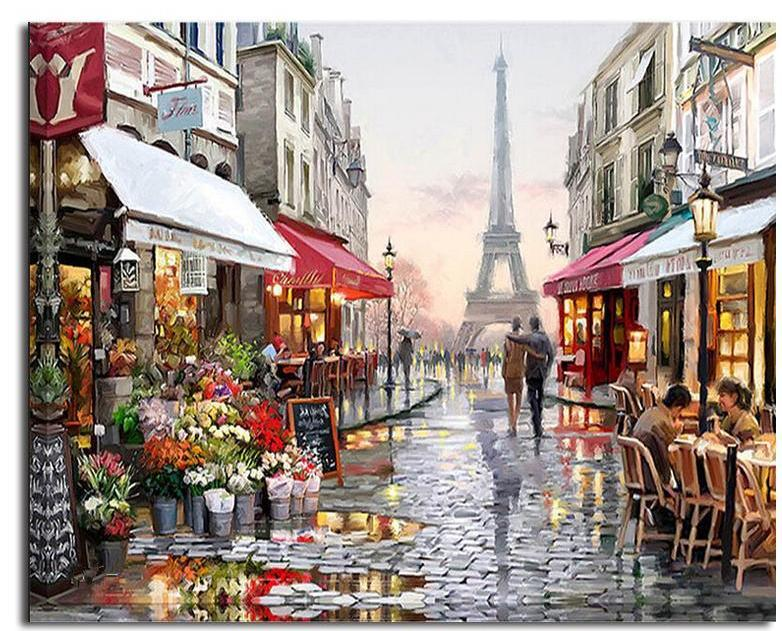 Romantic Paris Street Eiffel Tower - Paint By Numbers Kit – Shire Fire