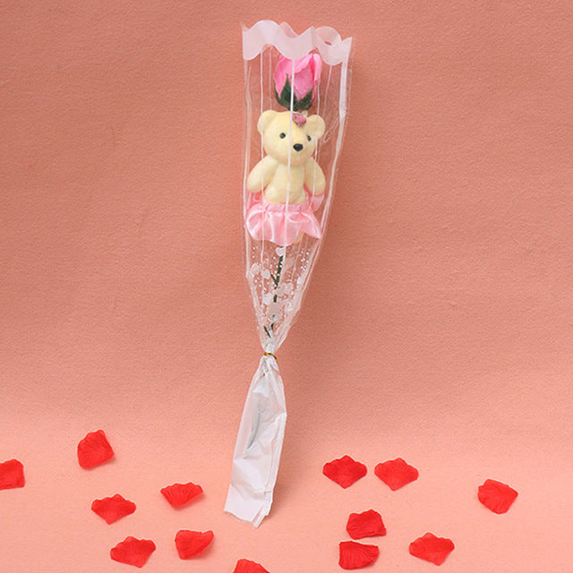 Romantic Rose Flower Bear Bouquet - Shire Fire