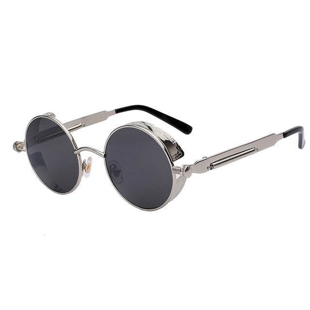 Mirror Lens Round Steampunk Sunglasses - Shire Fire