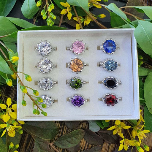 Cubic Zirconia Brooch - 12pc Crown Set B - Brooch