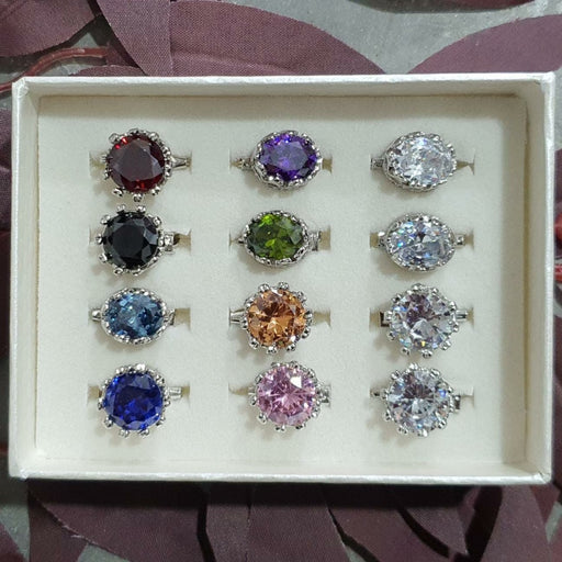 Cubic Zirconia Brooch - 12pc Crown Set E - Brooch