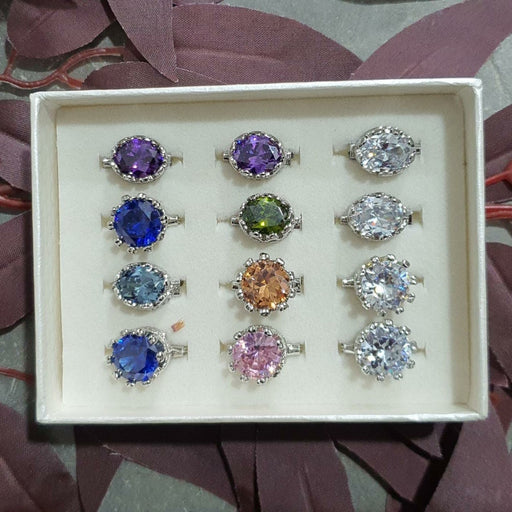 Cubic Zirconia Brooch - 12pc Crown Set F - Brooch