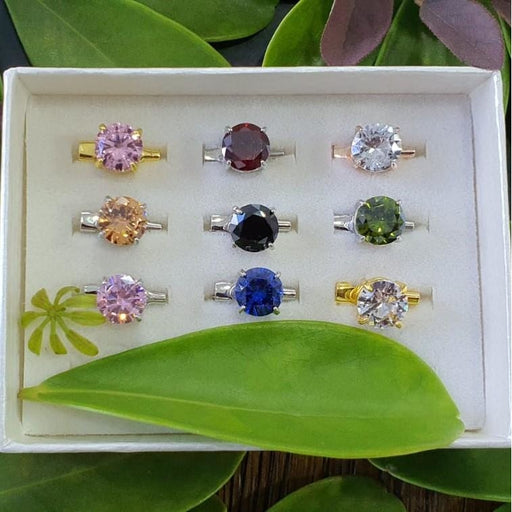 Cubic Zirconia Brooch - 9pc Mix Basic Set B - Brooch