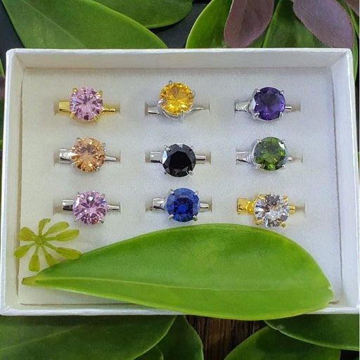 Cubic Zirconia Brooch - 9pc Mix Basic Set C - Brooch