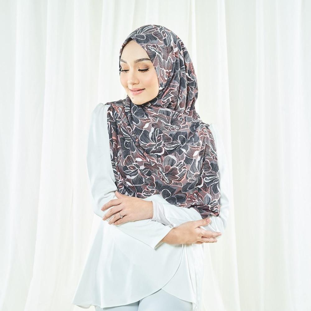 Luna Printed Instant Square | Brown Flower - Instant Shawl