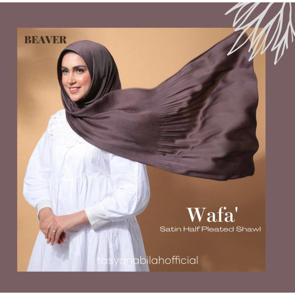 Wafa Luxe Satin Pleated Shawl | Beaver - Shawl