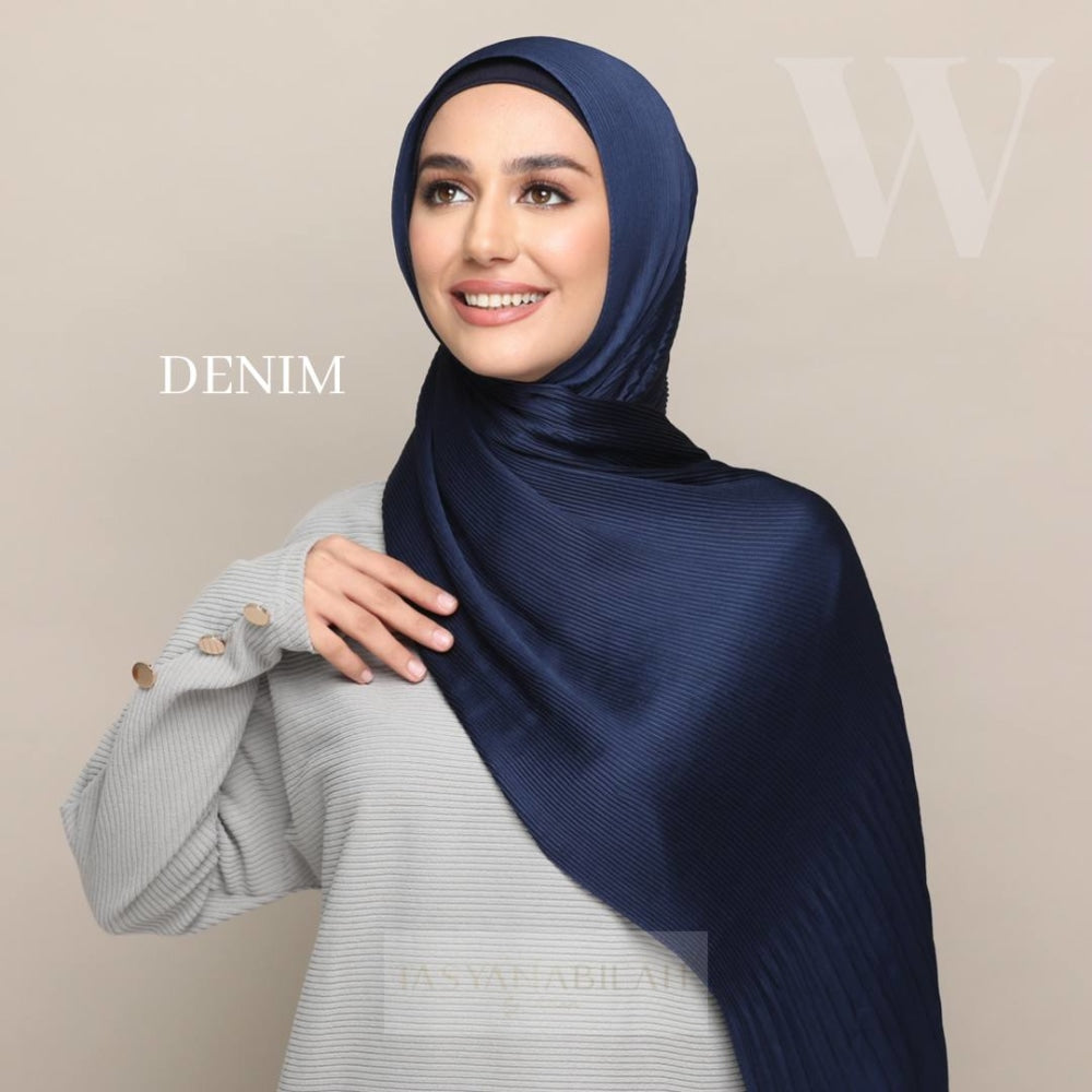 Wafa Luxe Satin Pleated Shawl | Denim - Shawl