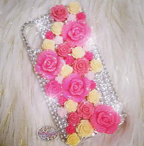 Iphone X Cream & Pink Bouquet Case
