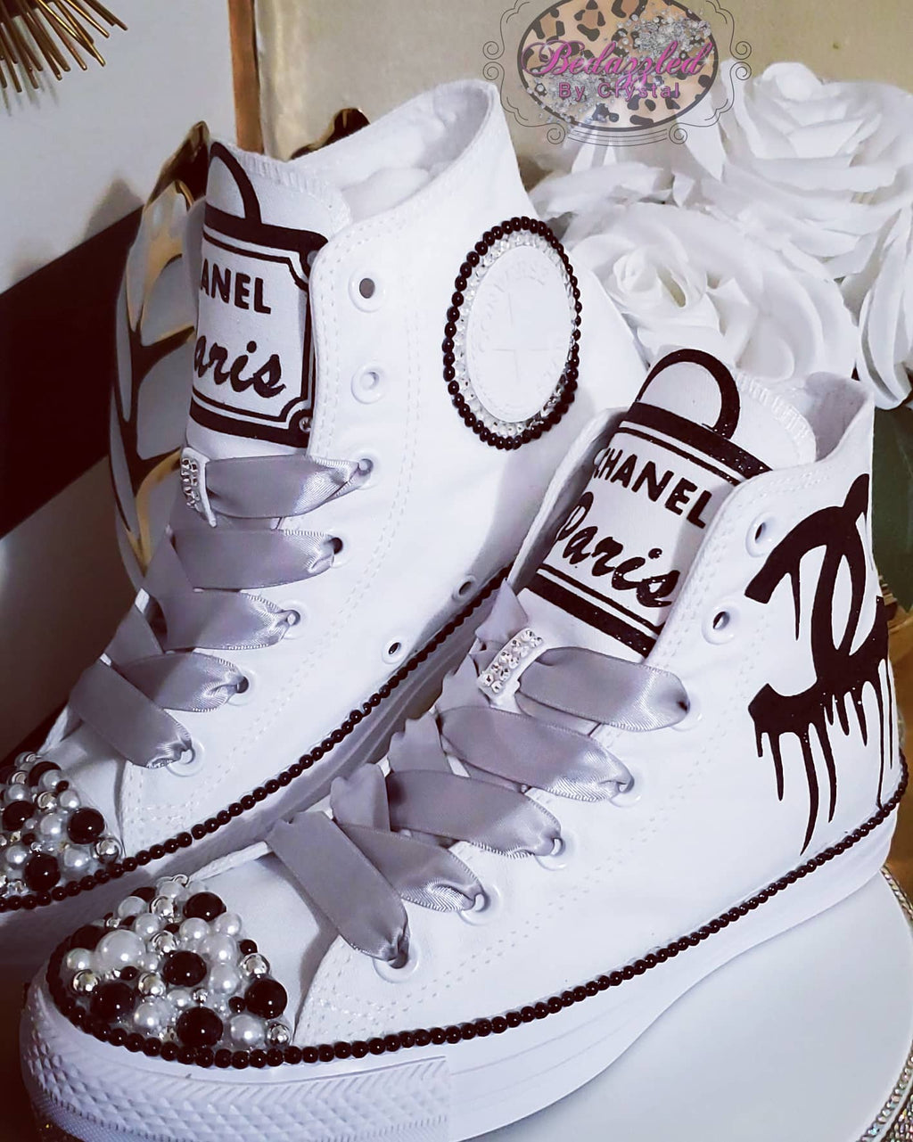 Chanel Paris Themed Pearl Converse
