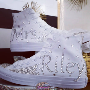 """Mrs. Lastname"" High Top Bling Sneakers"