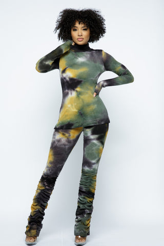 Oh My Tie Dye Mock Neck 2 Piece Pant Set
