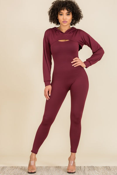 SAVAGE 2-piece Knit Crop Top Jumpsuit